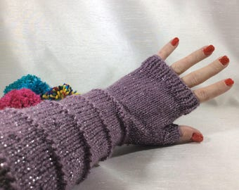 Knitted fingerless gloves, armwarmers, wristwarmers, vegan fashion, handwarmers