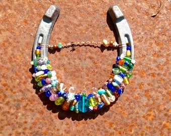 Assorted Colors Beaded Horseshoe