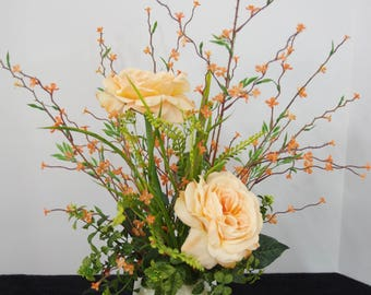 Silk Arrangement of Peach Roses and Peach Wildflowers in Green/Ivory Bowl