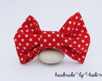 Bright Bow Tie - Red White Bow Tie - Stars Bow Tie - Boys Bow Tie - Mens Bow Tie - Baby Bow Tie - Father Son Bow Ties - Button On Bow Tie