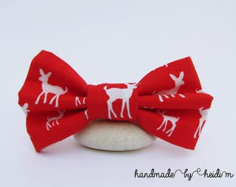 Christmas Bow Tie - Deer Bow Tie - Christmas Photoshoot Outfit - Button On Bow Tie - Red and White Bow Tie - Holiday Bow Tie - Boys Bow Tie