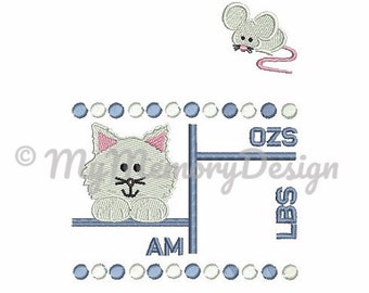 Cat Mouse Baby Birth Announcement  Template , Subway Template ,  Baby Embroidery Design, Machine Embroidery , 5x7 , personalized gift
