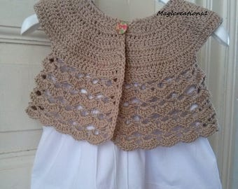 Romantic brown crochet baby cardigan. Baby crochet clothes. Baby gift.