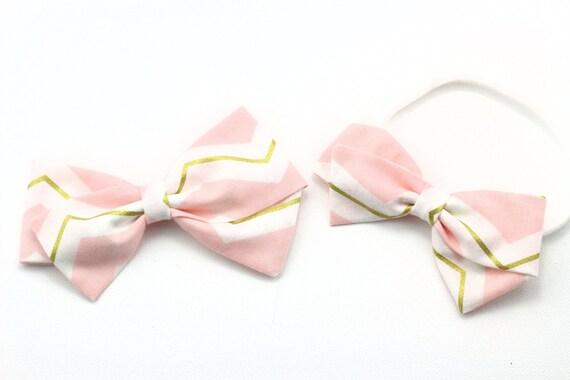 pink/white/gold chevron, toddler, baby girl, fabric bow, nylon headband or clip, newborn
