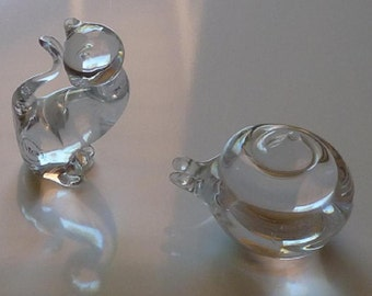 Crystal Figurines - Lot of Two (2) - Kosta Snail and Vilca Cat