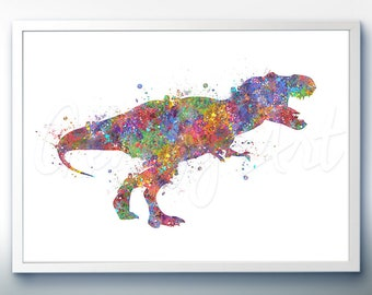 Dinosaur Tyrannosaurus T-Rex Watercolor Art Print - Dinosaur Watercolor Art Painting - House Warming Gift