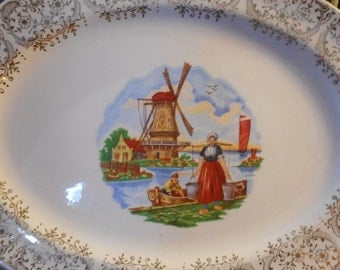 Stetson China mid century Dutch Windmill 24 kt gold trimmed oval platter vintage kitchen farmhouse decor shabby chic cottage chic