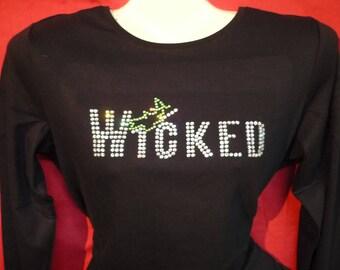 Wicked Rhinestone crystal womens shirt SHORT LONG Sleeve Misses S, M, L, XL, Plus size 1X, 2X, 3X Shirts
