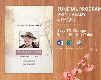 Instant Download Funeral Program Template, Memorial Program, Obituary Template | Editable With Microsoft Word, Publisher & Mac Page, - EF39