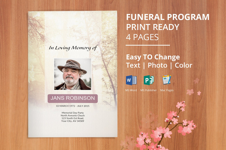 instant download funeral program template memorial program