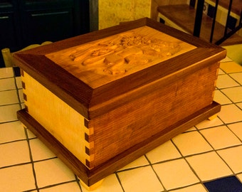 Custom WOOD CARVED BOX - custom carved top