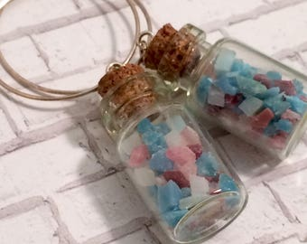 Eco Friendly Earrings - Tiny Glass Bottles - Boho Hoop Earrings -  Upcycled Beach Debris - Recycled Jewelry - Blue, Blush, Burgundy