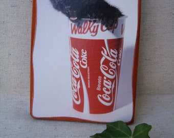 Picture with black kitten in glass of Coke-vintage wall decor