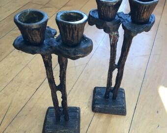 Mid-Century cast bronze candlesticks. Artisan made. Brutalist style.