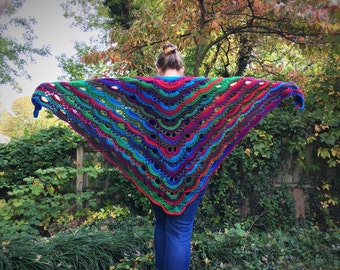 Handmade Crocheted Rainbow Shawl