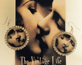 Vintage Retro Lovers Romance Photo Pendant Custom made Earrings