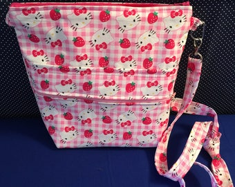 Hello Kitty in Strawberries Cross Body Tote.  Hello Kitty Sling To