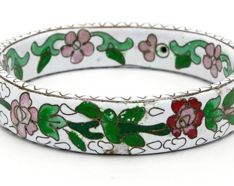 White Floral Chinese Cloisonne Bangle Unusual Shape