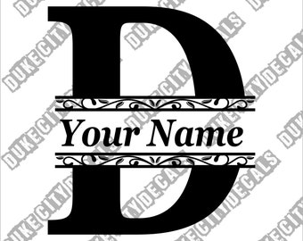 Letter D Initial Monogram Family Name Vinyl Decal Sticker - Personalized Floral Name Decal