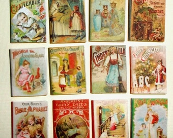12 child books antique and victorian style, artist made, scale 1:12