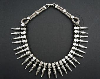 Vintage Silver Necklace from Rajasthan, India.  Old Indian Silver Necklace.  Tribal Indian Necklace.  Good Grade Silver