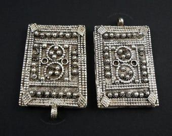 Old Yemeni Silver Multi-strand Necklace Piece (B).   Yemen.  High Grade Silver Box Pendant