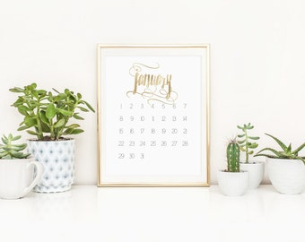 SALE -over 50% off! 2017 Calendar, gold foil swashes and swirl accent. A4 Digital Download Printable monthly calendar