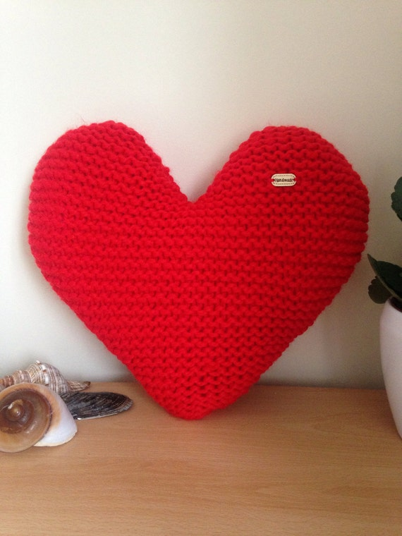 Knitting Pattern Heart Shaped Cushion : Handmade Hand Knitted Red Heart-Shaped Decorative Cushion