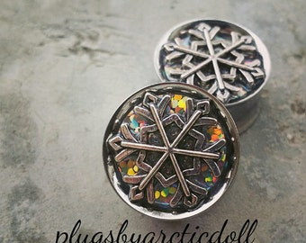 """Pair of plugs 18mm """"Holographic Snowflake"""""""