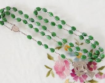 Irish Catholic Rosary Green Glass Beads Imprinted with Shamrock