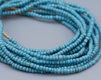 Vintage Small Turquoise/Powder Blue Glass African Trade Beads 4x3mm Boho Ethnic Jewelry Supplies