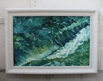 Framed Painting Seascape Painting Abstract Painting Wave Painting Framed Art Original Art Ocean Painting Canvas Art  Home Decor Sea Decor