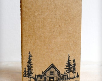 Original - Made to Order Hand-drawn Moleskine Journals - Barn in the Woods