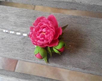 Handmade flower peony/ hair clip