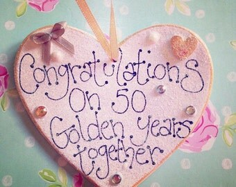 Embellished handmade hanging heart sign ceramic golden wedding anniversary keepsake gift