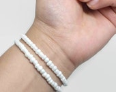 White Bead Bracelet, Stack Bracelets, Beach Bead Bracelet, Beachy Bracelet, Beaded layering bracelet , Boho Bracelet, Elastic White Bracelet