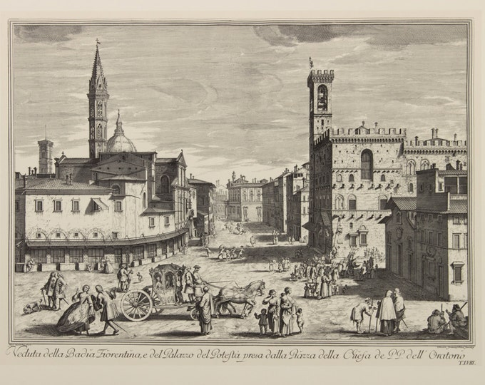 "Engraving ""View of the Badia Fiorentina"" by Giuseppe Zocchi, 19 century"