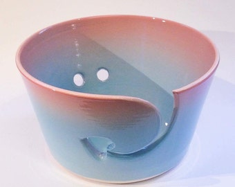Pink and blue yarn bowl.