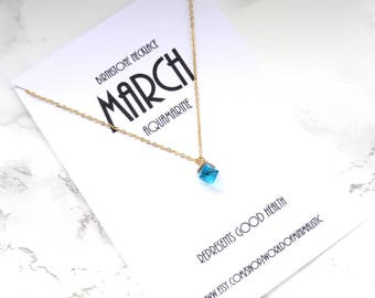 MARCH birthstone necklace, aquamarine gold chain necklace, minimalist simple necklace, dainty delicate necklace, everyday necklace