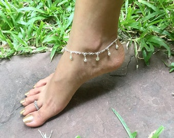Anklet, Silver Anklet, Shell Charms, Minimalist Silver Anklet, Delicate Anklet, Womens Gift, Simple Anklet, Beach Wear (AS71)