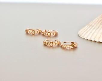 Rose Gold Ear Hoops, 10mm Bali Hoops, Gift Earrings, Elegant Earrings, Simple Earrings, Minimal Earrings, Bohochic,  Gypsy Style, (E60)