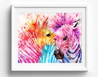Zebra print, zebra wall art, animal print, baby animal prints, watercolor animals, watercolor animal safari animal print watercolour animals