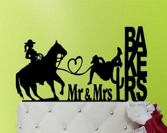 Wedding Cake Topper - cowboy cake topper - Couple Cowboys Cake Topper - Cowboys Cake Topper - last name Wedding topper - western M1-01-024