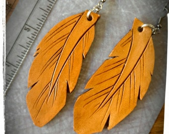 Earrings, leather feather