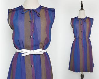 Navy Purple Yellow Strip Vintage Women Short Dress 1980s Sleeveless Size M