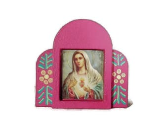 "Pink Mexican Folk Art Nicho Shrine Pin"" Mary and The Sacred Heart"