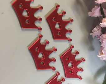 3mm Coloured Acrylic Craft Mirror Shapes Pack of 10 - Red Princess Crown