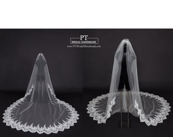 Lace Trim Cathedral Wedding Veil #61, Single Layer Cathedral Veil, Lace Wedding Veil, One Tier Cathedral Lace Veil , Cathedral Veil