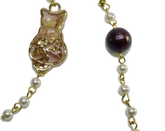 "earrings ""cat and beads"" asymmetry"