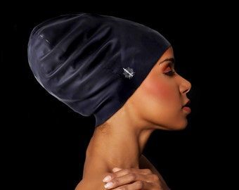 Large & Extra Large Swim Cap by Aquastocking  - For long, thick, curly hair, dreadlocks, extensions, braids, locs, dreads, black hat -Jumbo